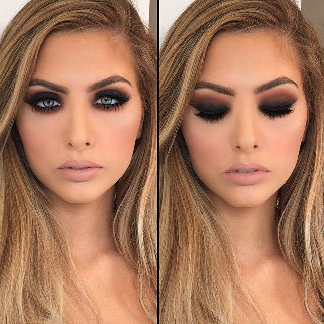 """Warm smokey eye with top and bottom lashes by #hudabeauty All shadows using #meltcosmetics dark matter stack and #anastasiabeverlyhills pure Hollywood…"""