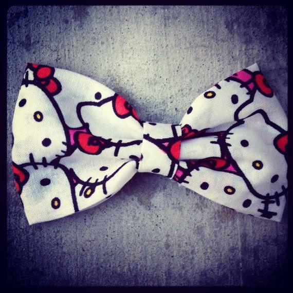 Hello Kitty Handmade fabric bow tie hair bow by Bowliciousdivas, $5.00