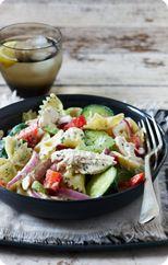 Chicken pasta salad with basil dressing