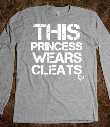 This princess wears soccer softball cleats black long sleeve tee tshirt t shirt