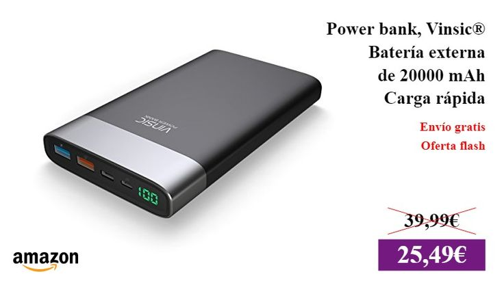 Power bank, Vinsic® Batería externa de 20000 mAh Power bank QC 3.0 carga rápida, Una salida USB de QC 3.0 carga rápida, una salida USB estándar y una entrada y salida Type-C  #Moviles/tablets ✏  #BateriaExterna #BateriaPortatil #Amazon https://vdg.fun/41