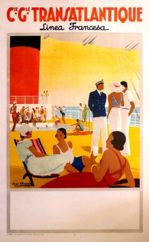 French Line Transatlantic Art Deco, 1920s - original vintage poster by Roger Chapelet listed on AntikBar.co.uk #FrenchLine