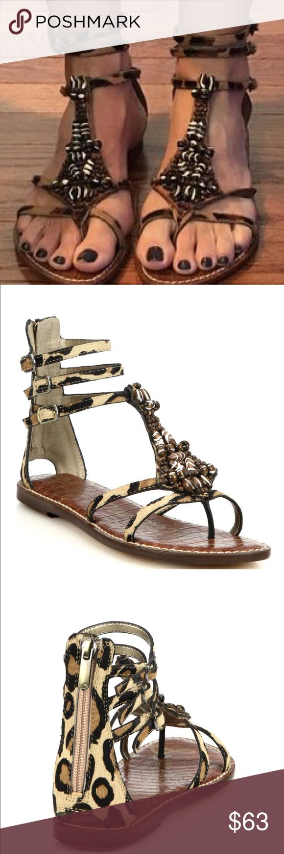 Sam Edelman Sandals Women's leopard print sandals with beaded material. Worn, but in great condition! Not sure of original price. Sam Edelman Shoes Sandals