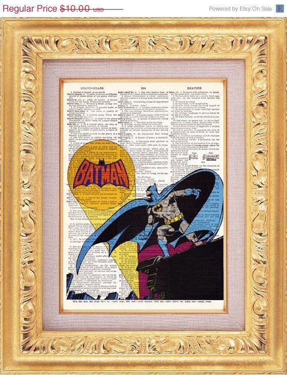 Batman, Superhero, Saves The Day, Vintage Dictionary, Book Page Art , UpCycled  8x10. $8.98, via Etsy.