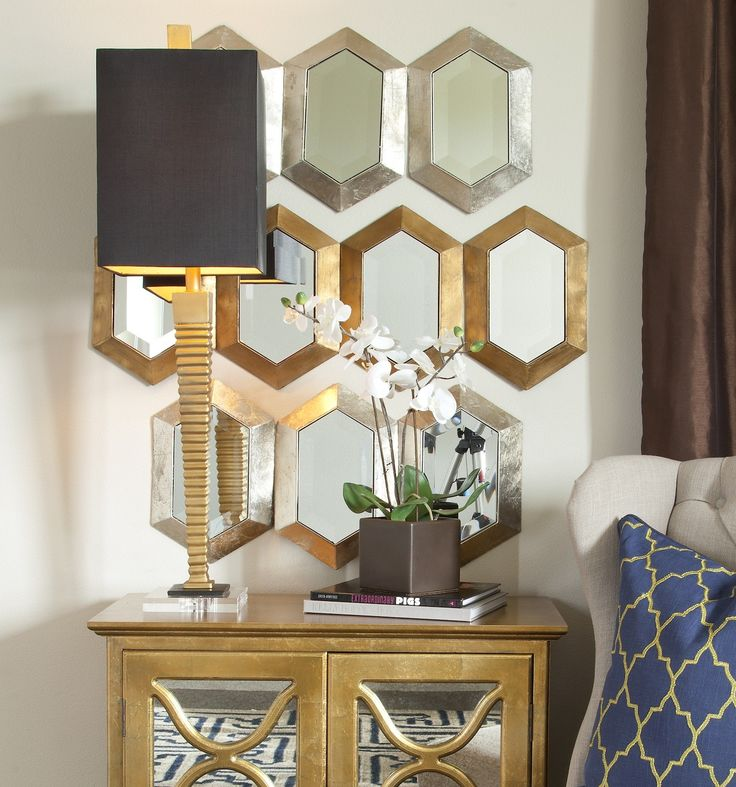 Gold Hexagon Mirror | I.O. Metro   I.O. Metro Furniture, Art U0026 Accessories