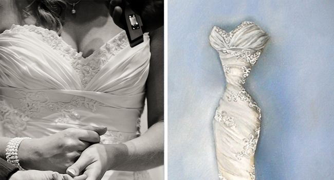 Jane's Dress – Oil Painting | Pretty as a Picture. Gorgeous sketch of wedding dress by Ailbhe Ryan of Pretty as a Picture. #weddingdress #weddingdresssketch #beautifuldress #prettyasapicture #weddingdressportrait