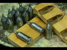 Making lead fishing weights in wooden moulds - YouTube
