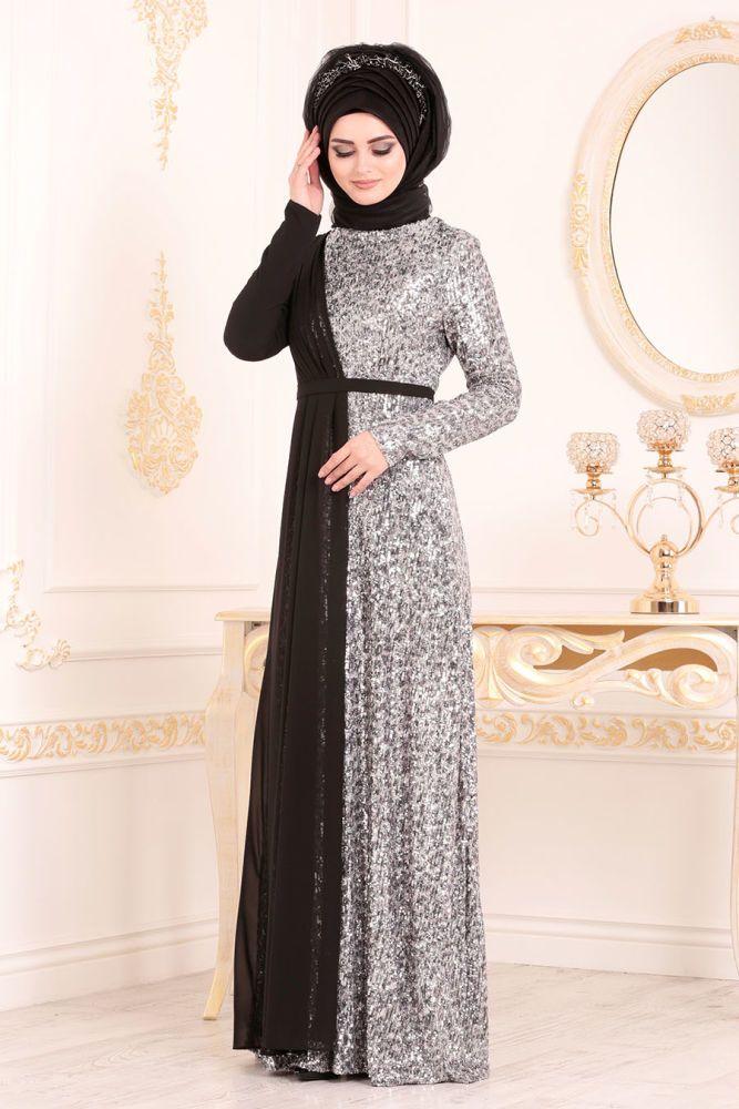 Pul Payetli Siyah Tesetturlu Abiye Elbise 85590s Neva Style Com