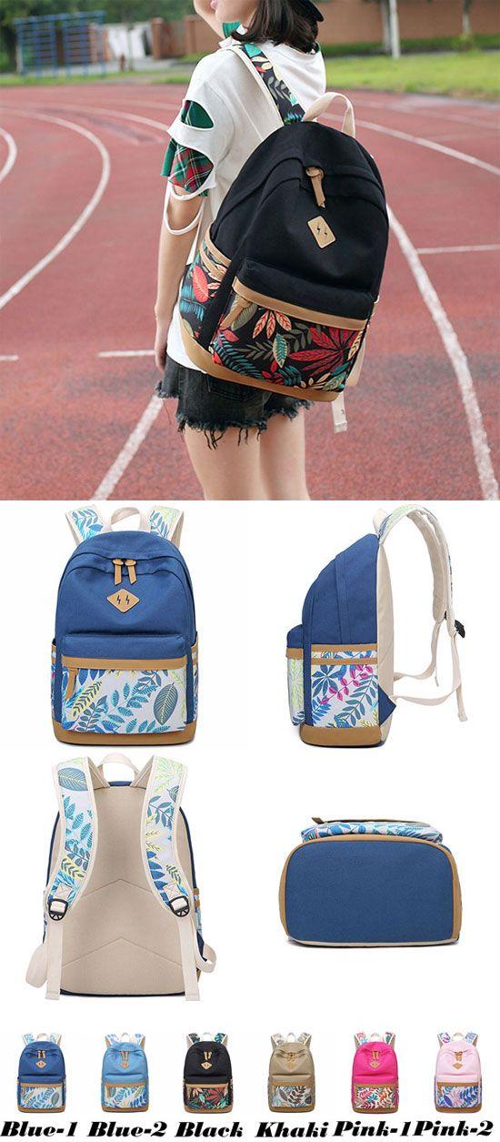 694539c814d9 Fresh Leaves Patterns Printing Designed College Bag Leisure Travel Canvas  School Backpack for big sale!  backpack  bag  school  college  student