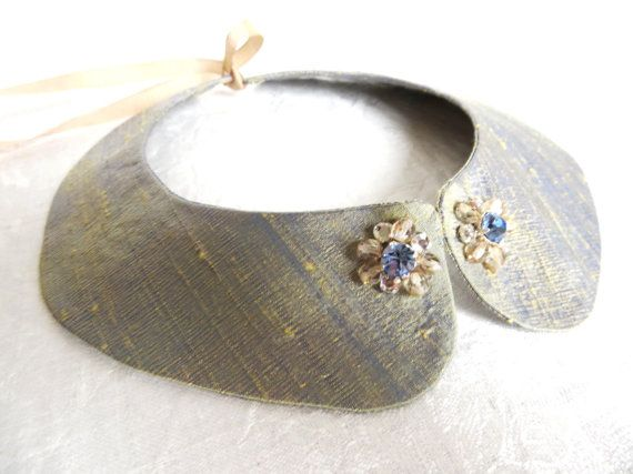 Light blue collarette necklace pure silk collar by LoveThirties,