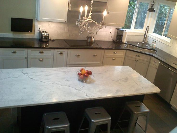 Simple Black And White Marble Countertops Minimalist Kitchen Design
