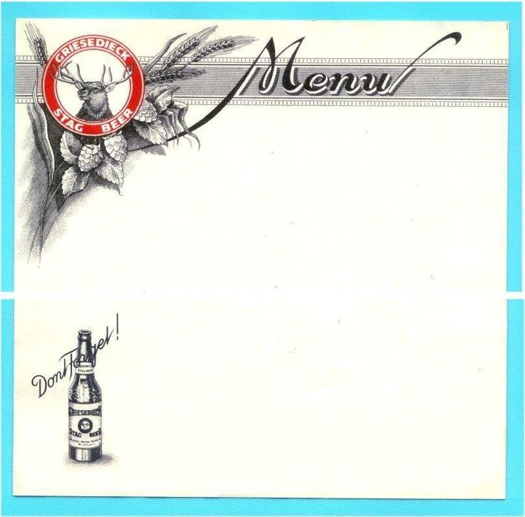Belleview, IL - Griesedieck Stag Beer Menu Sheet #x - NOS (New Old Stock)