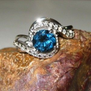 London Blue Topaz Silver 925 Ring 8US