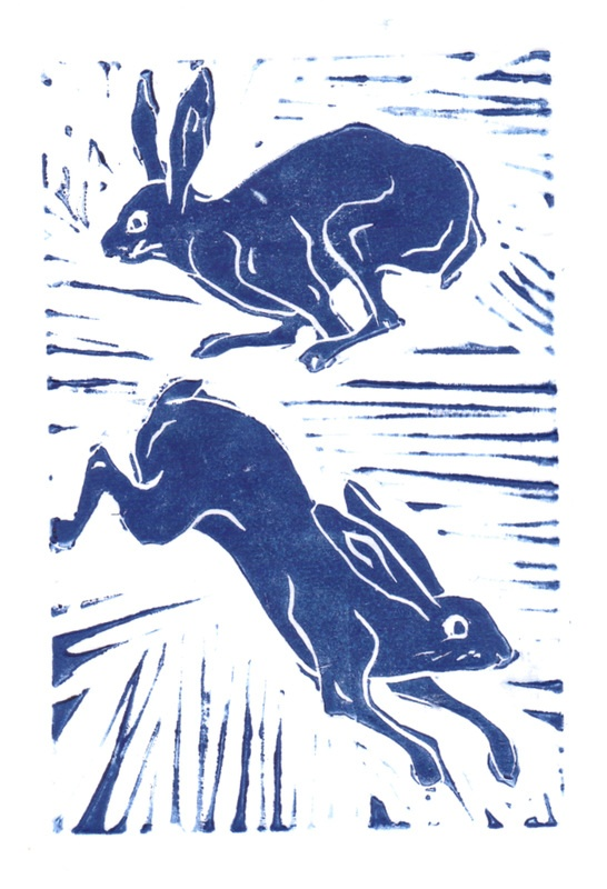 lino cut - march hares by gloriadean