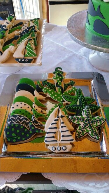 Preppy whales nautical boy first birthday cookies
