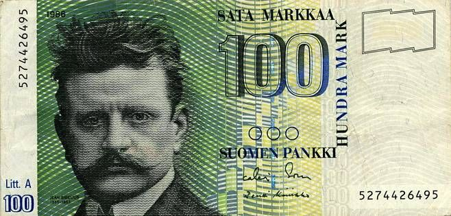 Finnish currency before euro. 1986. Picture: Composer Jean Sibelius, Suomen pankki (1986).