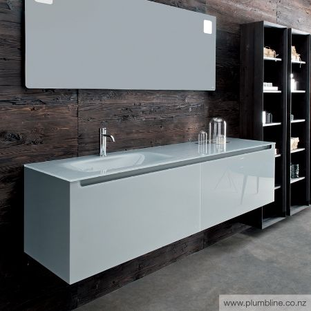 Edge 1600x450H Vanity LH Basin - Gloss Iron Glass Top & Cabinet