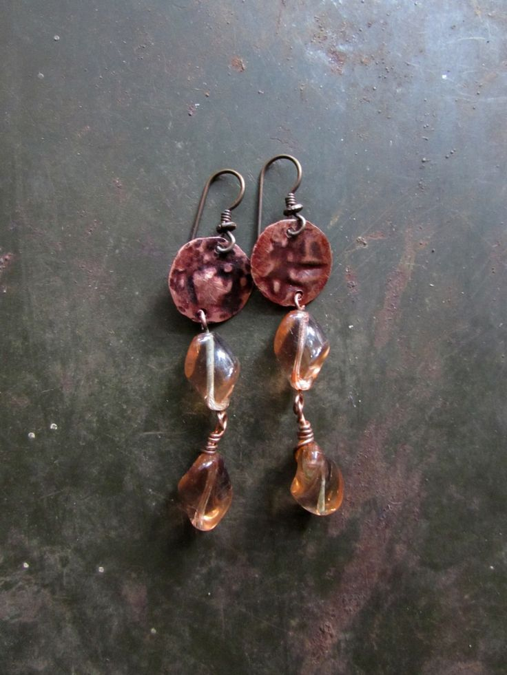 Eat a Peach - Rustic Boho Earrings of Vintage Twisted Peach Glass and Embossed Copper by Chilirose on Etsy
