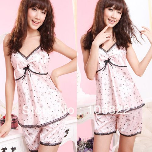 Women Imitated Silk Lace V neck Braces Shirt Short Pants Sleepwear Pajamas Lounge