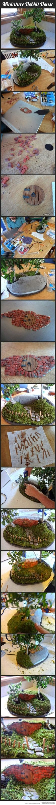 Tiny hobbit house! It would be cool to use real moss and a bonsai or something
