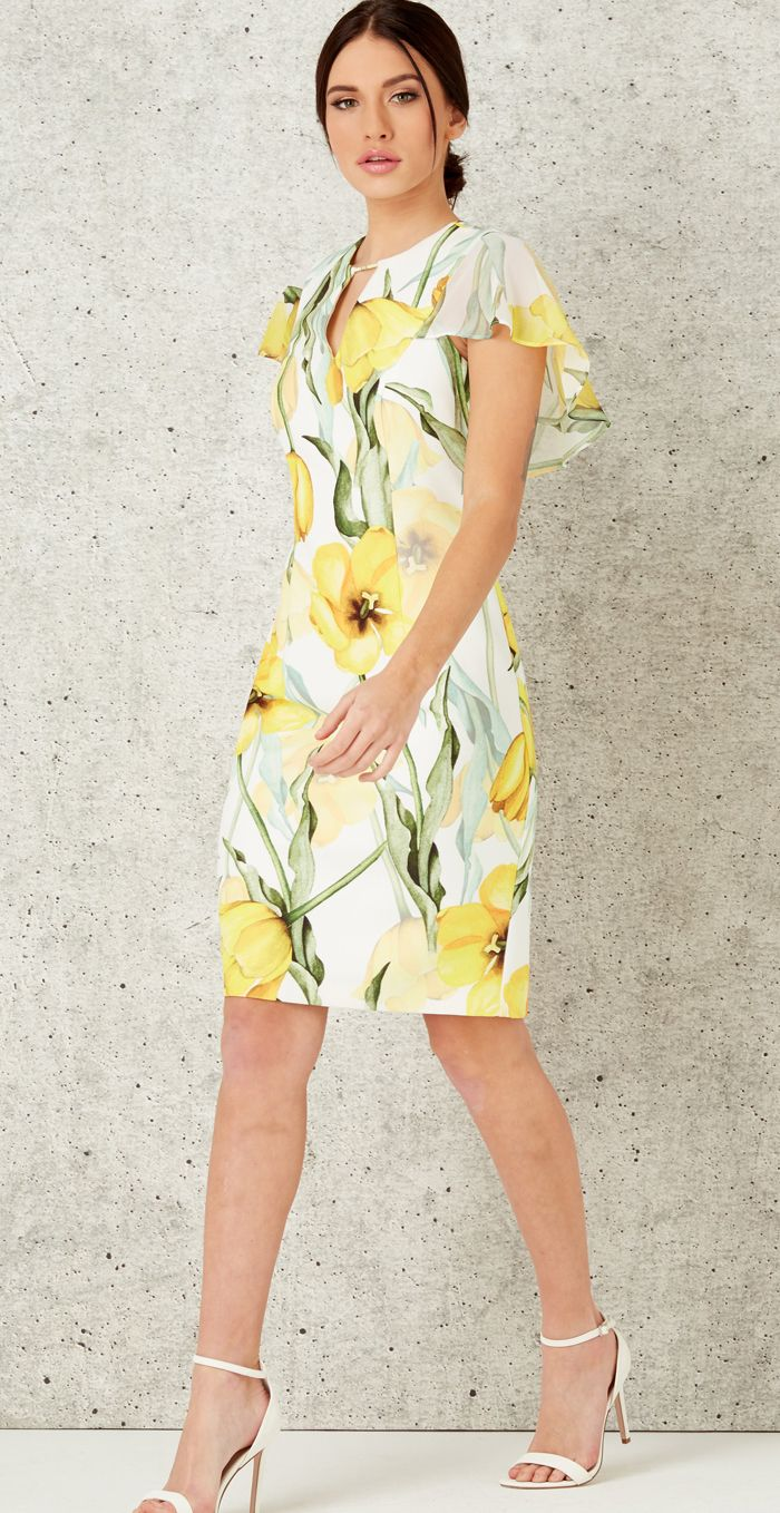 467ca5bfdfc1 Yellow pattern Floral Dress for Royal Ascot or Spring Wedding Guest  outfits. Fit's the Royal Ascot dress code and is a fun cheery yellow for the  Races.