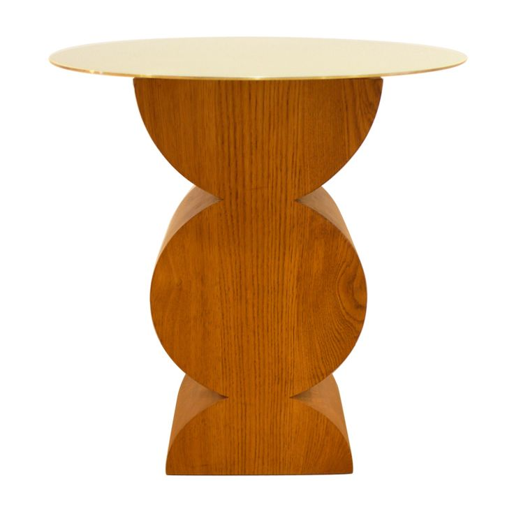 """""""Constantin"""" table by Studio Simon  Italy  1980's  Limited-production side table/pedestal with butcher-block solid oak base and laminated brass top. The """"Constantin"""" table, an homage to Brancusi--the form echoes his bases-- is produced by Dino Gavina's atelier, Studio Simon."""