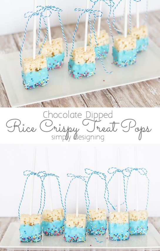 Chocolate Dipped Rice Crispy Treat Pops Blue