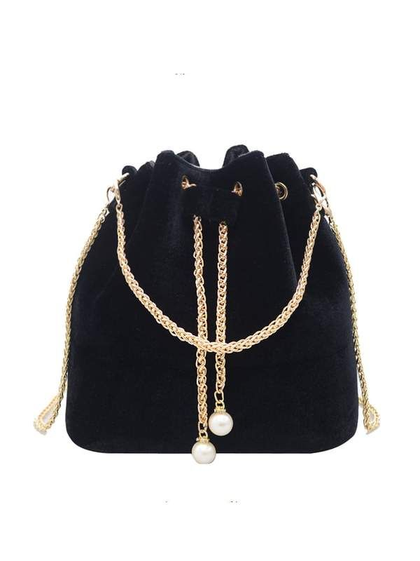 42867b0ed2 Suede Bucket Bag With Chain Drawstring And Chain Strap In Black ...