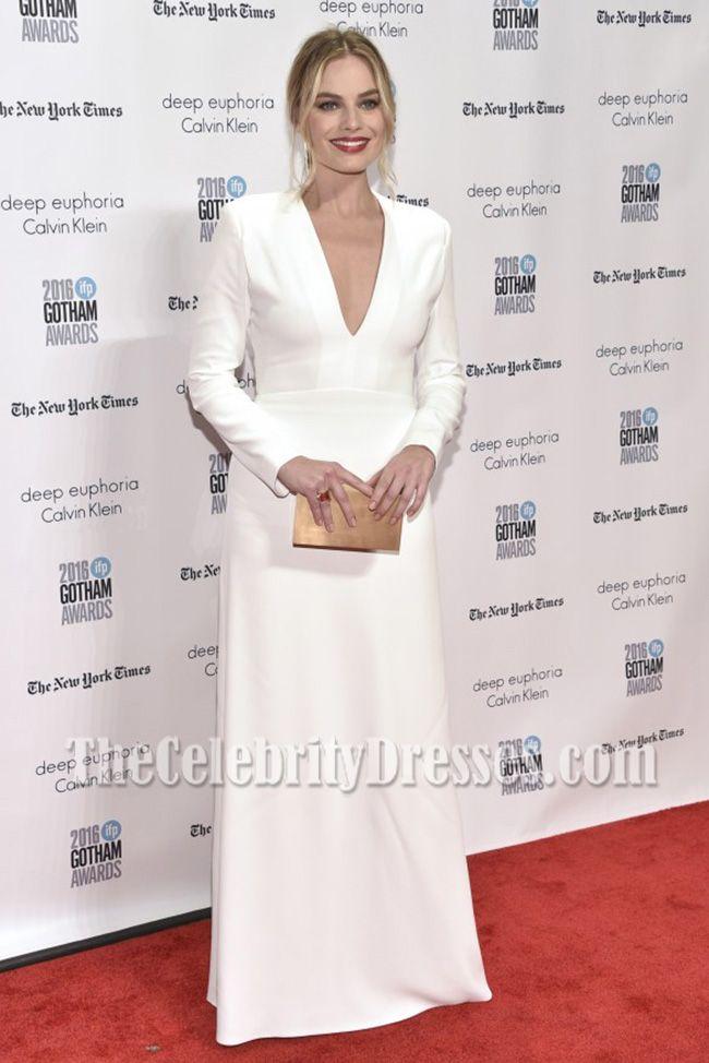 Margot Robbie White Long Sleeves V-neck Prom Gown Gotham Independent Film Awards