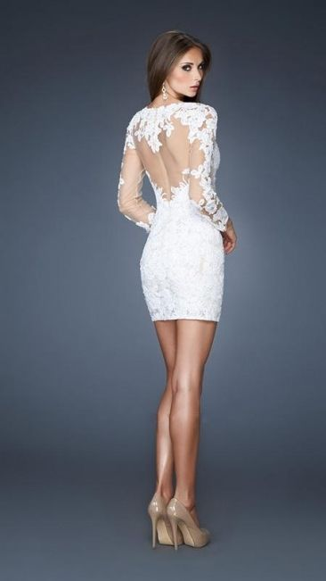 Short White Lace Long Sleeve Cocktail Party Dresses Formal Evening Prom Dress | eBay