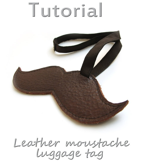 Tutorial Leather moustache luggage tag  PDF by katrinshine on Etsy, $4.00