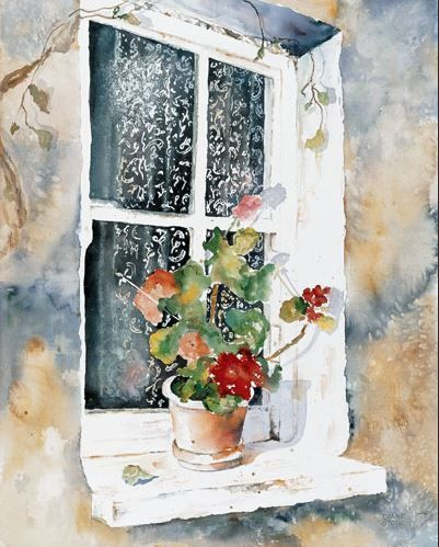 Flannigans Window - 15x22 - watercolor