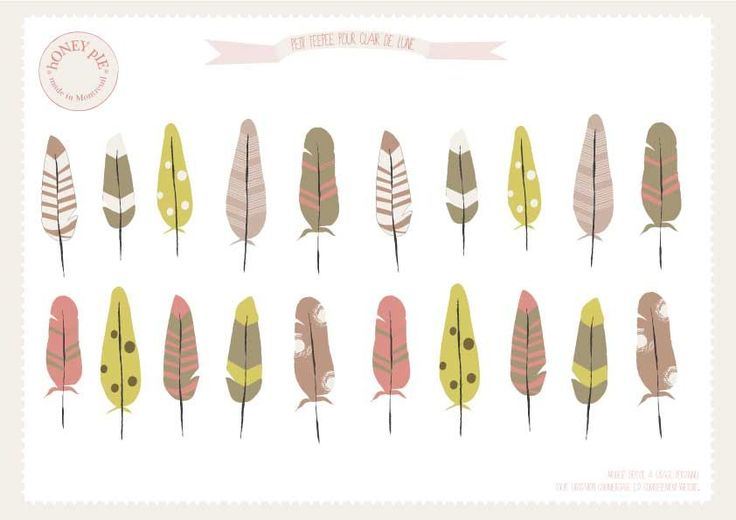So cute.  Free printable feathers. Go down below printable at bottom & click under it on the italicized lettering. That is the link. {French site}