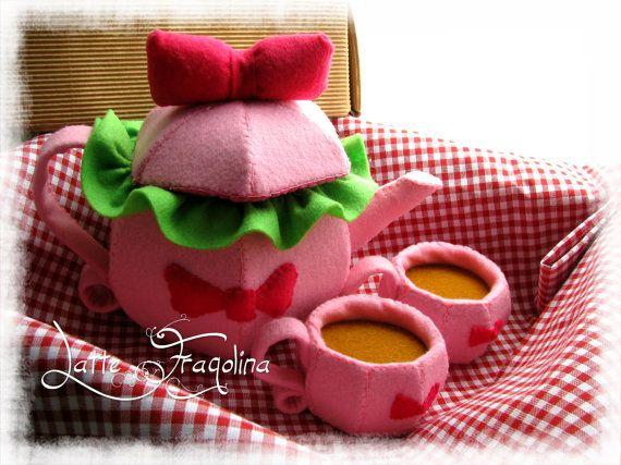 Tea set felt toys with Ribbon   Felt food toys by LatteFragolina, €30.00