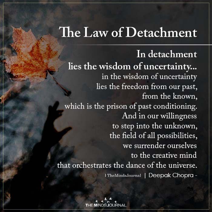 The Law Of Detachment In Detachment Lies The Wisdom Of Uncertainty Law Of Detachment Detachment Quotes Detachment