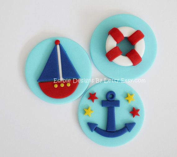 12 Edible Fondant Nautical Themed Cupcake Toppers - Sailboat, Lifesaver & Anchor