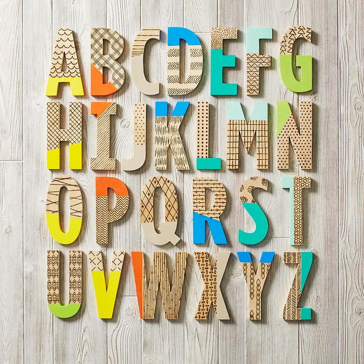 Creative paint dipped letters from The Land of Nod Decorating with Wooden Letters