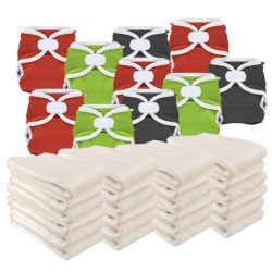 Pikapu full time nappy cover pack, 10 covers & 24 prefolds