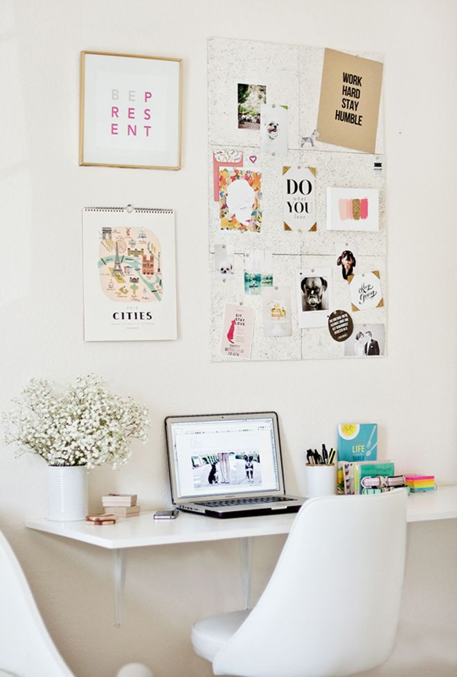 adhesive cork tiles and paint them white / must do for office space