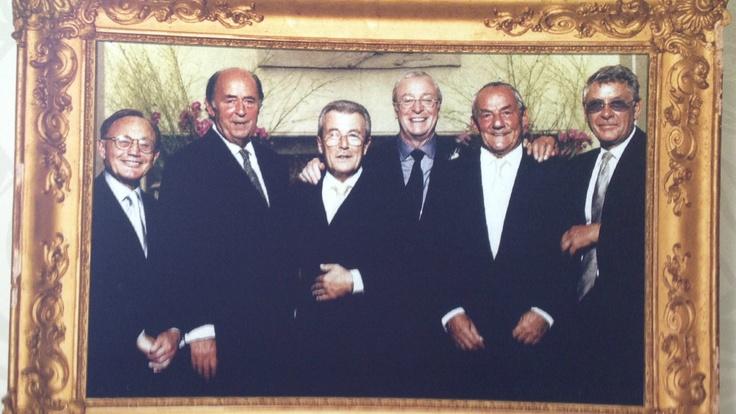 'The Mayfair Orphans': Philip, Doug Hayward, Terry O'Neill, Sir Michael Caine, Johnny Gold and Mickey Most at Claridges, 1998.