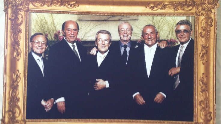 'The Mayfair Orphans': Philip, Doug Hayward, Terry O'Neill, Sir Michael Caine, Johnny Gold and Mickey Most at Claridges, 1998.