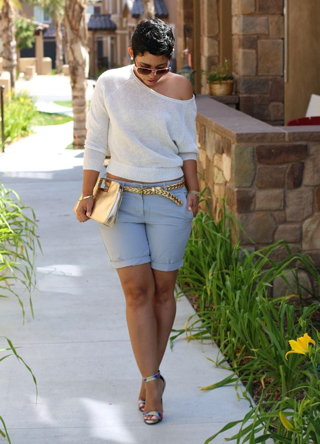 Casual Friday Shorts + Heels - Mimi G Style