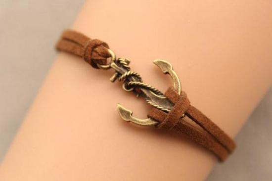 pulsera de cadena del ancla, amigo, regalo de navidad  bronce antiguo,cuero,cordón de cera pulsera retro
