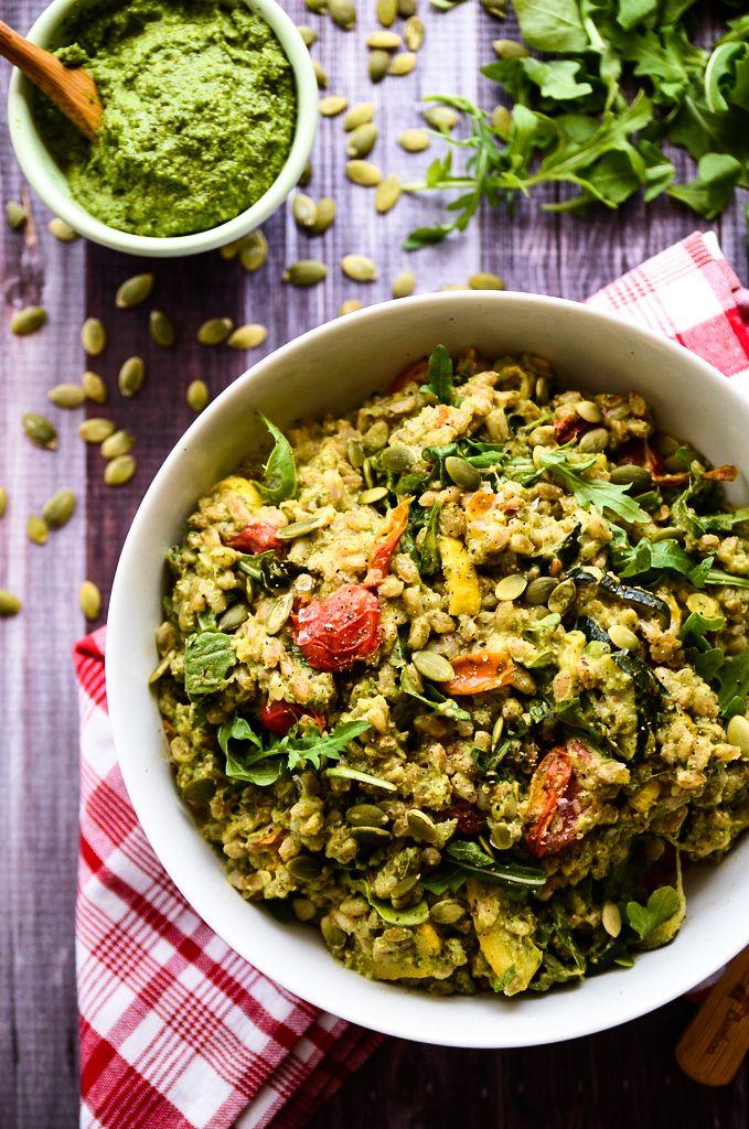Pesto Farro Salad with Roasted Summer Vegetables (vegan)