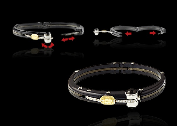 Stainless steel, black aluminum and diamonds bracelet with 18k yellow gold and diamond Sauro logo.