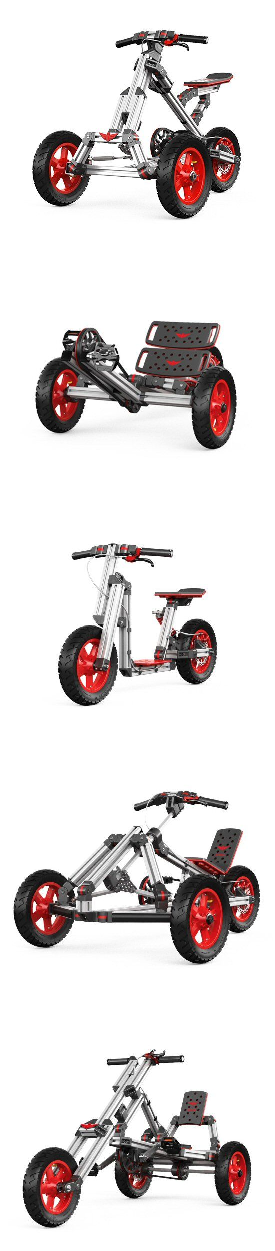 Construible rides (Infento, 2015): a vehicle kit that provides all necessary materials and instructions to build from the ground up, and as a bonus, can be entirely constructed with a single hex key.