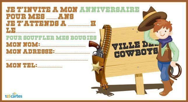 invitation anniversaire à imprimer cowboy