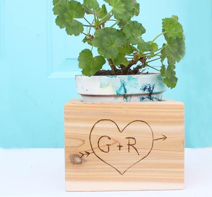 DIY Woodworking Ideas Gina Michele: DIY Carved Initial Cedar Planter