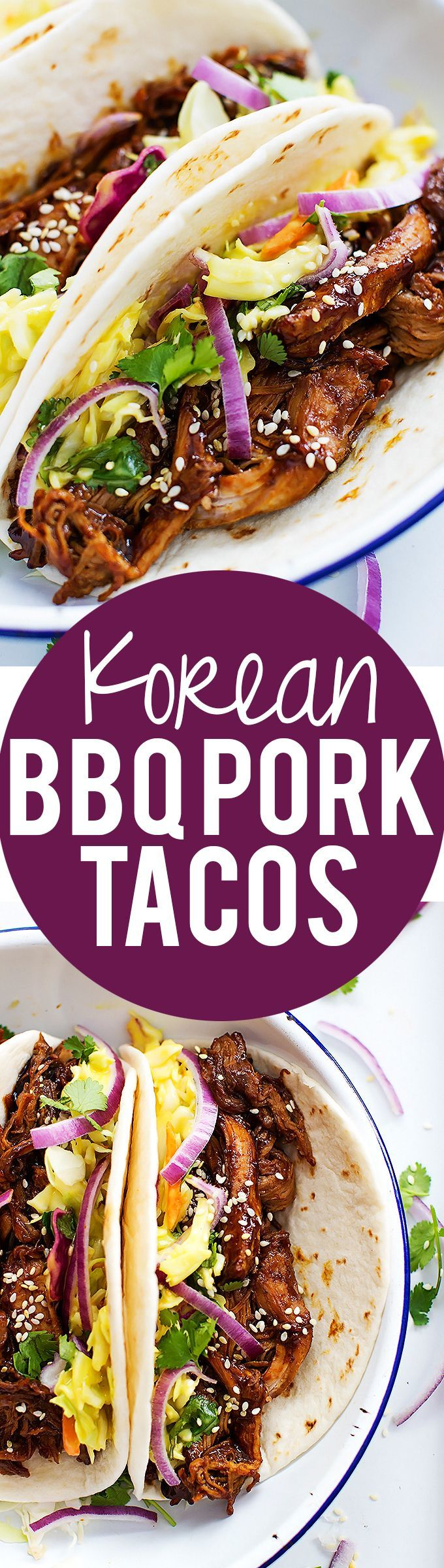 Slow Cooker Korean BBQ Pork Tacos | Creme de la Crumb