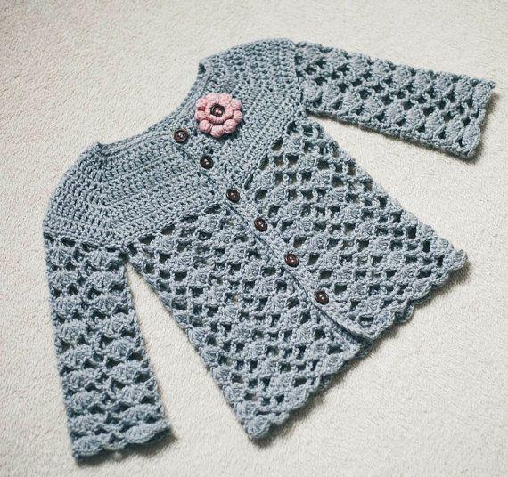 Crochet Cardigan PATTERN (only pdf file) - Sweet Little Cardigan (sizes 0-6,6-12,1-2,3-4)